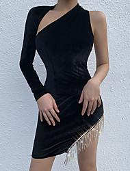 cheap -Women's Sheath Dress - Solid Colored Tassel Black S M L