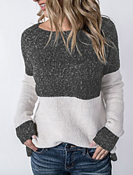 cheap -Women's Color Block Long Sleeve Pullover Sweater Jumper, Round Neck Black S / M / L