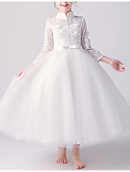 cheap -A-Line Ankle Length First Communion Flower Girl Dresses - Tulle 3/4 Length Sleeve High Neck with Bow(s) / Beading / Appliques