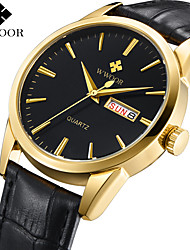 cheap -WWOOR Steel Band Watches Quartz Modern Style Stylish PU Leather 30 m Calendar / date / day Casual Watch Large Dial Analog Classic Fashion - Brown black / gold Black / Silver