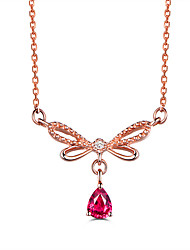 cheap -Rose Gold Color CZ Crystal Chokers Red Pendant Necklace for Women Girls   Wedding Jewelry Bowknot Gift