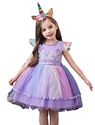 cheap -Unicorn Dress Masquerade Flower Girl Dress Girls' Movie Cosplay A-Line Slip Cosplay Vacation Dress White / Purple / Blue Dress Headwear Halloween Carnival Masquerade Tulle Polyester