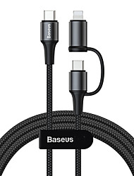 cheap -Baseus twins 2 in 1 cable Type-C to Type-C 60W (20V/3A)iP(5V/2A)1m Black