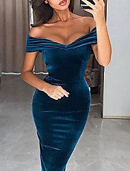 cheap -Women's Velvet Wine Blue Dress Elegant 1920s Cocktail Party Going out Flapper Solid Colored Off Shoulder The Great Gatsby S M