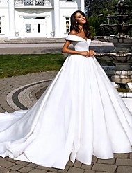 cheap -Ball Gown / A-Line Off Shoulder Cathedral Train Polyester Short Sleeve Wedding Dresses with 2020