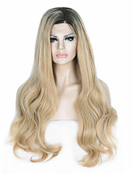 cheap -quality heat resistant ombre dark brown to blonde wavy long wig small edge lace front