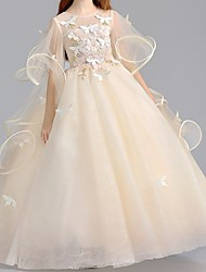 cheap -Ball Gown Floor Length Flower Girl Dress - Polyester Half Sleeve Jewel Neck with Appliques