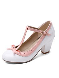 cheap -Women's Heels Chunky Heel Round Toe Ribbon Tie Patent Leather Casual / Sweet Walking Shoes Fall / Spring & Summer Black / White / Purple / Party & Evening