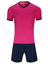 cheap -Men's Soccer Jersey and Shorts Clothing Suit Breathable Quick Dry Soft Team Sports Active Training Football Cotton Adults Teen White Fuchsia Ruby / Micro-elastic