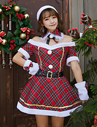 cheap -Mrs.Claus Dress Women's Adults' Costume Party Christmas Christmas Polyester Dress / Belt / Hat / Neckwear / Bracelets / Velvet