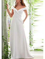 cheap -A-Line Off Shoulder Floor Length Stretch Satin Bridesmaid Dress with Ruching