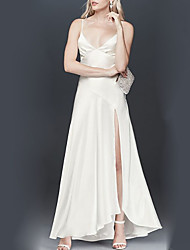 cheap -A-Line Spaghetti Strap Floor Length Satin Bridesmaid Dress with Split Front / Open Back