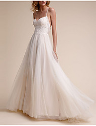 cheap -A-Line V Neck Floor Length Tulle Spaghetti Strap Backless Wedding Dresses with Lace Insert 2020