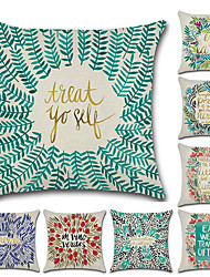 cheap -8 pcs Linen Pillow Cover, Art Deco Floral Print Wedding Boho Throw Pillow