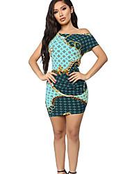 cheap -Women's Bodycon Dress - Geometric Light Blue S M L XL