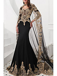 cheap -Mermaid / Trumpet High Neck Court Train Satin / Tulle Sparkle / Black Engagement / Formal Evening Dress with Appliques 2020