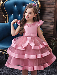 cheap -Kids Toddler Girls' Sweet Solid Colored Beaded Bow Layered Short Sleeve Knee-length Dress Blushing Pink