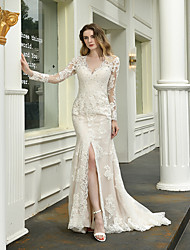 cheap -Mermaid / Trumpet V Neck Sweep / Brush Train Lace Long Sleeve Illusion Sleeve Wedding Dresses with Beading / Appliques 2020