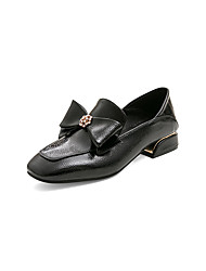 cheap -Women's Loafers & Slip-Ons Chunky Heel Square Toe Rhinestone / Bowknot PU Preppy / Minimalism Spring &  Fall Black / Almond / Burgundy