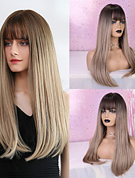 cheap -Synthetic Wig Bangs Straight Natural Straight Side Part Neat Bang With Bangs Wig Long Light Brown Synthetic Hair 24 inch Women's Cosplay Women Synthetic Light Brown HAIR CUBE