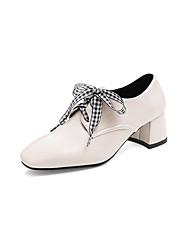 cheap -Women's Heels Chunky Heel Square Toe Bowknot PU Vintage / Minimalism Summer Black / Beige