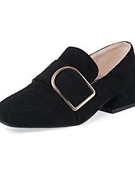 cheap -Women's Loafers & Slip-Ons Low Heel Square Toe Buckle Suede Vintage / Casual Summer Black / Beige