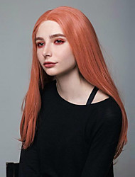 cheap -Synthetic Lace Front Wig Natural Straight Middle Part Lace Front Wig Long Orange Synthetic Hair 18-26 inch Women's Cosplay Adjustable Heat Resistant Red / Natural Hairline