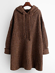 cheap -Women's Solid Colored Long Sleeve Pullover Sweater Jumper, Hooded Fall / Winter Brown / Dark Gray One-Size