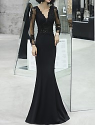 cheap -Sheath / Column Plunging Neck Floor Length Jersey Dress with Beading / Appliques / Crystals by LAN TING Express