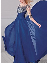 cheap -A-Line Boat Neck Sweep / Brush Train Chiffon Elegant Formal Evening Dress with Sequin / Appliques 2020