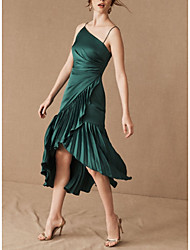 cheap -Sheath / Column Spaghetti Strap Asymmetrical Satin Bridesmaid Dress with Ruching / Open Back