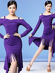 cheap -Women's Flapper Girl Latin Dance Skirt Party Costume Tassel Flapper Costume Polyester Black Purple Burgundy Skirts Top
