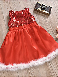 cheap -Kids Toddler Girls' Active Sweet Christmas Holiday Weekend Solid Colored Christmas Sequins Sleeveless Knee-length Dress Red / Cotton