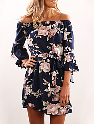 cheap -Women's Basic Sheath Dress - Floral Blue S M L XL