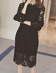 cheap -Women's A Line Dress - Solid Colored Black White S M L XL
