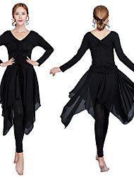 cheap -Women's Flapper Girl Latin Dance Skirt Party Costume Flapper Costume Tulle Polyester Black Purple Light Red Skirts Top