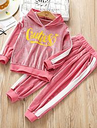 cheap -Kids Girls' Basic Print Long Sleeve Regular Regular Clothing Set Black