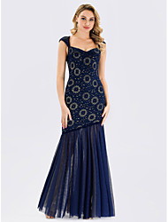 cheap -Mermaid / Trumpet V Neck Floor Length Polyester / Spandex / Lace Vintage Inspired Formal Evening Dress with Pleats 2020