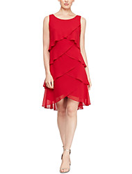 cheap -Sheath / Column Jewel Neck Short / Mini Chiffon Sleeveless Plus Size Mother of the Bride Dress with Tier 2020