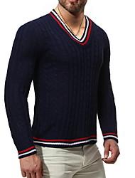 cheap -Men's Color Block Long Sleeve Pullover Sweater Jumper, Round Neck White / Navy Blue US32 / UK32 / EU40 / US34 / UK34 / EU42 / US36 / UK36 / EU44