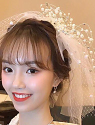 cheap -Two-tier Antique / Sweet Style Wedding Veil Shoulder Veils with Faux Pearl 75 cm 100% Polyester / Classic