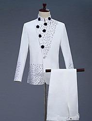 cheap -Men's Suits, Color Block Stand Polyester White
