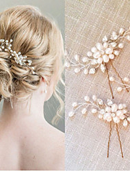 cheap -Alloy Hair Stick / Hair Accessory with Pearls 2pcs Wedding / Special Occasion Headpiece