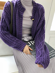 cheap -Women's Solid Colored Long Sleeve Cardigan Sweater Jumper, Round Purple / Beige One-Size