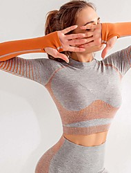 cheap -Women's Yoga Top Color Gradient Orange Pink Light Grey Yoga Running Fitness Tee / T-shirt Top Sport Activewear Breathable Moisture Wicking Quick Dry Comfortable Micro-elastic / Winter / Stripes