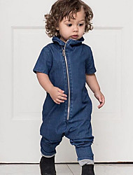 cheap -Baby Boys' Basic Solid Colored Short Sleeves Romper Blue