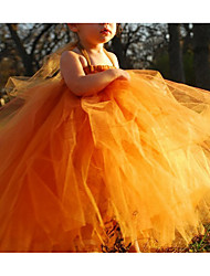 cheap -Ball Gown Floor Length Pageant Flower Girl Dresses - Tulle Sleeveless Spaghetti Strap with Ruching
