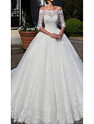 cheap -A-Line Off Shoulder Chapel Train Lace Half Sleeve Wedding Dresses with Lace 2020