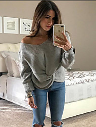 cheap -Women's Solid Colored Long Sleeve Pullover Sweater Jumper, Off Shoulder Wine / White / Yellow S / M / L