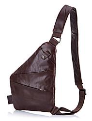 cheap -Men's Zipper Cowhide Sling Shoulder Bag Solid Color Black / Coffee